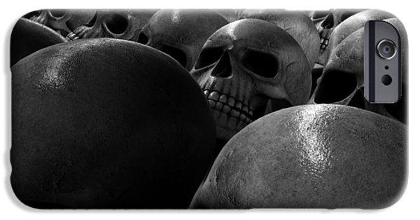 Creepy iPhone Cases - Massacre Of Skulls iPhone Case by Allan Swart