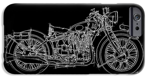 Bicycle Drawings iPhone Cases - Matchless Silver Hawk 1933 iPhone Case by Pablo Franchi