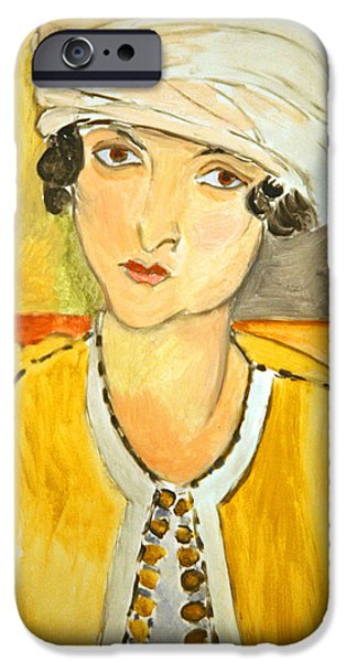 Cora Wandel iPhone Cases - Matisses Lorette With Turban And Yellow Jacket iPhone Case by Cora Wandel