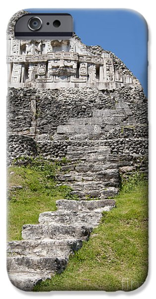 Ruin Pyrography iPhone Cases - Mayan ruins at Xunantunich iPhone Case by Yoshiko Wootten