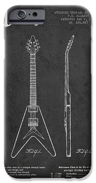 Strings Digital iPhone Cases - Mccarty Gibson Electric guitar patent Drawing from 1958 - Dark iPhone Case by Aged Pixel