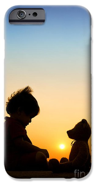 Innocence iPhone Cases - Me and My Bear iPhone Case by Tim Gainey