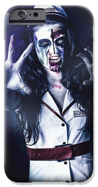 Dismay iPhone Cases - Medical zombie looking to kill at dead of night iPhone Case by Ryan Jorgensen