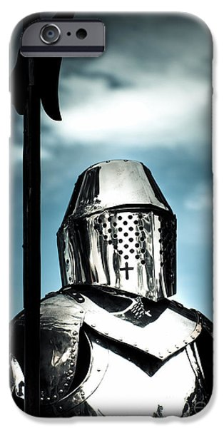 Knighthood iPhone Cases - Medieval Knight Holding Weapon iPhone Case by Ryan Jorgensen