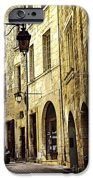 Streetlight Photographs iPhone Cases - Medieval street in France iPhone Case by Elena Elisseeva