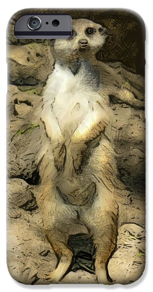 Meerkat Digital Art iPhone Cases - Meerkat iPhone Case by Deborah Boyd