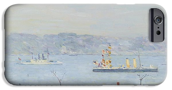 Childe iPhone Cases - Men Owar The Blake And The Boston iPhone Case by Childe Hassam
