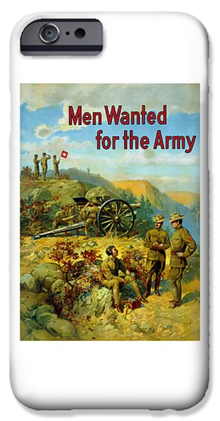 illery Mixed Media iPhone Cases - Men Wanted For The Army iPhone Case by War Is Hell Store