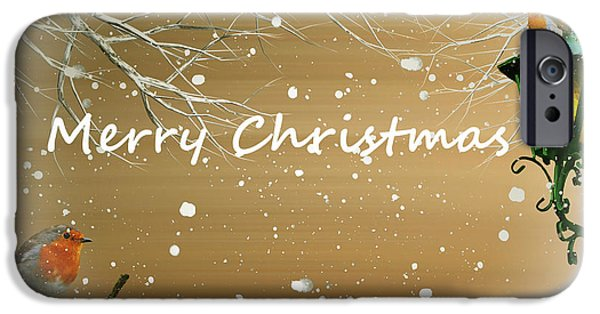Snowy Mixed Media iPhone Cases - Merry Christmas  iPhone Case by Sharon Lisa Clarke