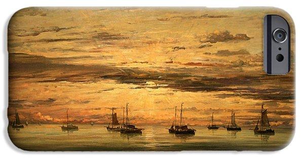 Cora Wandel iPhone Cases - Mesdags Sunset At Scheveningen -- A Fleet Of Shipping Vessels At Anchor iPhone Case by Cora Wandel