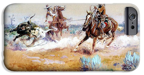 Roping Horse iPhone Cases - Mexico iPhone Case by Charles Russell