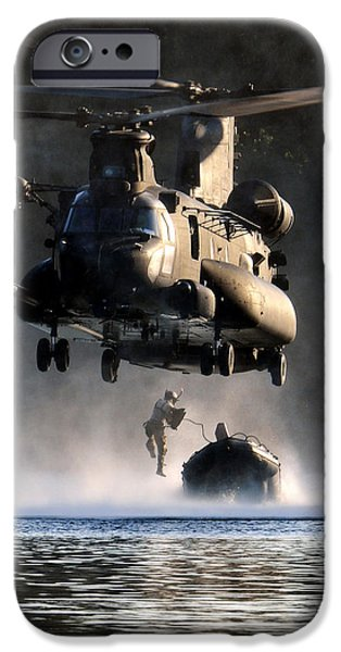 Army Men iPhone Cases - MH-47 Chinook helicopter iPhone Case by Celestial Images