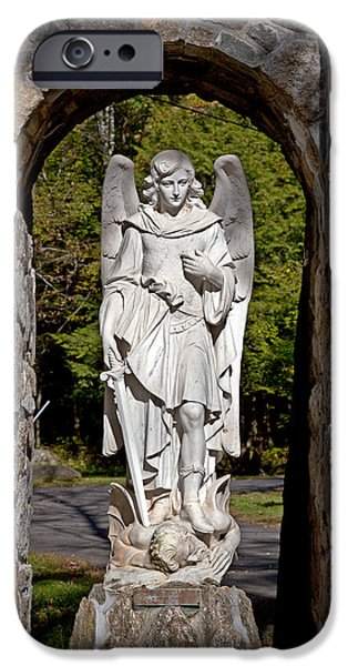 Seraphim Angel iPhone Cases - Michael Defeats Lucifer iPhone Case by Terry Reynoldson