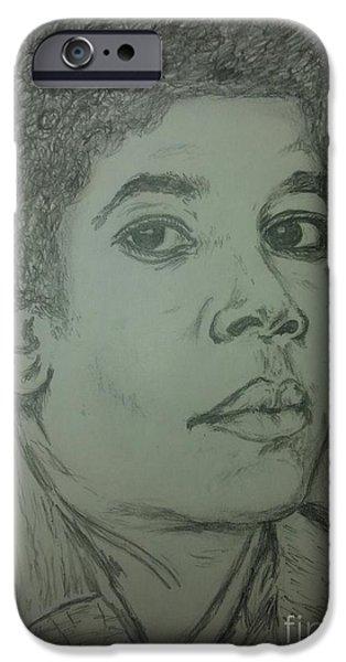 Michael Jackson Sketch iPhone Cases - Michael Jackson art iPhone Case by Collin A Clarke