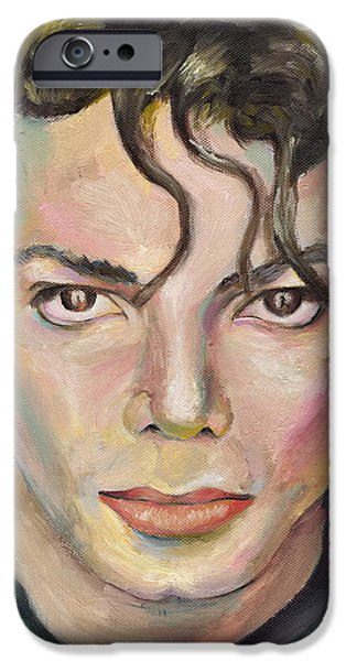 Mick Jagger Paintings iPhone Cases - Michael Jackson iPhone Case by Marina Sotiriou
