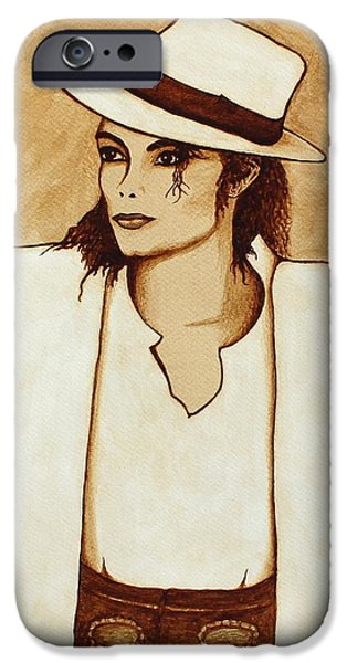 Michael Jackson Paintings iPhone Cases - Michael Jackson original coffee painting iPhone Case by Georgeta  Blanaru