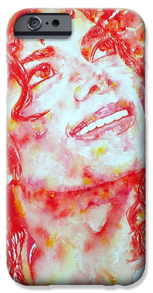 Michael Jackson Paintings iPhone Cases - MICHAEL JACKSON - watercolor portrait.2 iPhone Case by Fabrizio Cassetta