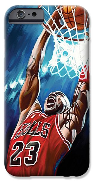 Jordan Mixed Media iPhone Cases - Michael Jordan Artwork iPhone Case by Sheraz A