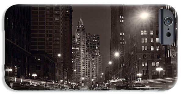 Wrigley iPhone Cases - Michigan Avenue Chicago BW iPhone Case by Steve Gadomski