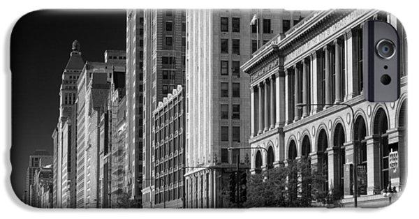 Historic Architecture iPhone Cases - Michigan Avenue Chicago B W iPhone Case by Steve Gadomski