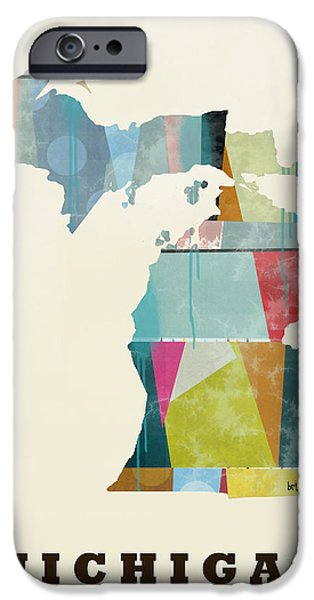 Michigan Paintings iPhone Cases - Michigan State Map Modern iPhone Case by Bri Buckley