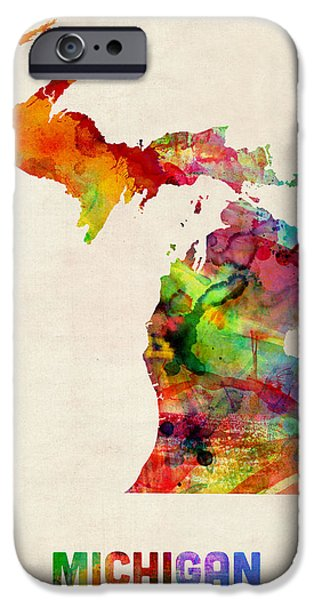 Geography iPhone Cases - Michigan Watercolor Map iPhone Case by Michael Tompsett