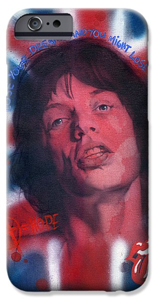 Mick Jagger Paintings iPhone Cases - Mick Jagger iPhone Case by Luis  Navarro