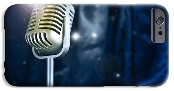 Broadcast iPhone Cases - Microphone iPhone Case by Les Cunliffe
