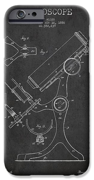 Microscope iPhone Cases - Microscope Patent Drawing From 1886 - Dark iPhone Case by Aged Pixel