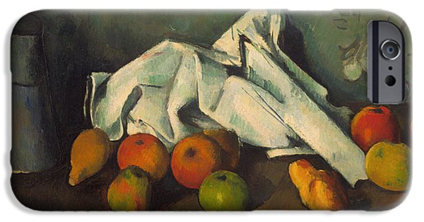 """indoor"" Still Life Paintings iPhone Cases - Milk Can and Apples iPhone Case by Paul Cezanne"
