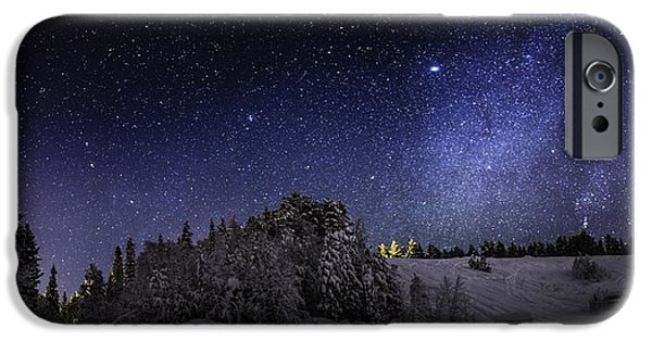 Lapland iPhone Cases - Milky Way Galaxy With Aurora Borealis iPhone Case by Panoramic Images