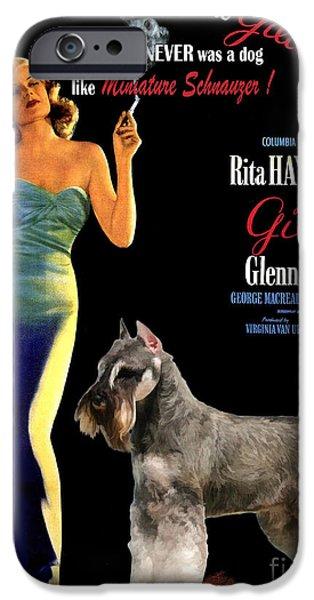 Miniature Schnauzer iPhone Cases - Miniature Schnauzer Art Canvas Print - Gilda Movie Poster iPhone Case by Sandra Sij