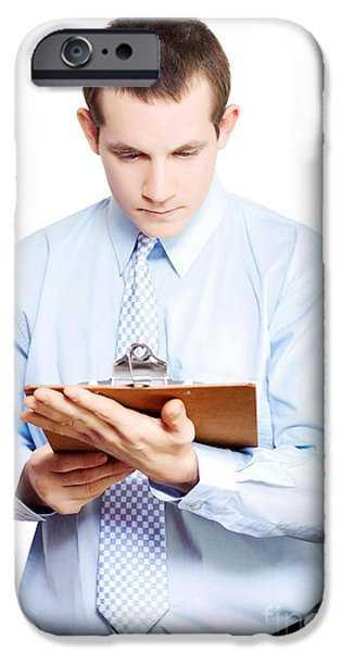 Absorb iPhone Cases - Minute taking businessman reading meeting notes iPhone Case by Ryan Jorgensen