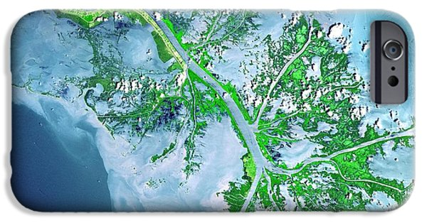 Galactic Paintings iPhone Cases - Mississippi River Delta iPhone Case by Celestial Images