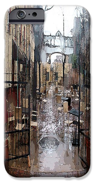Rainy Day iPhone Cases - Misty Cafe iPhone Case by Suzy Freeborg