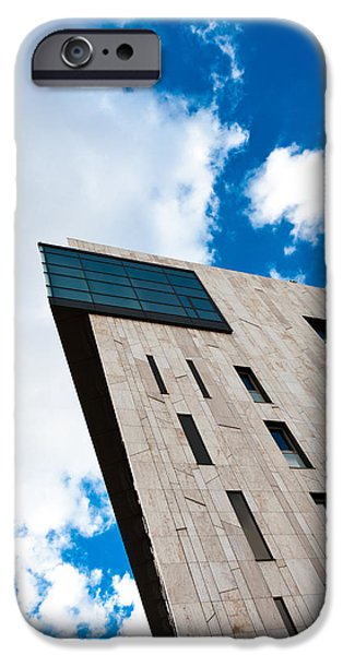 Business Pyrography iPhone Cases - Modern building angle shot against blue sky iPhone Case by Oliver Sved
