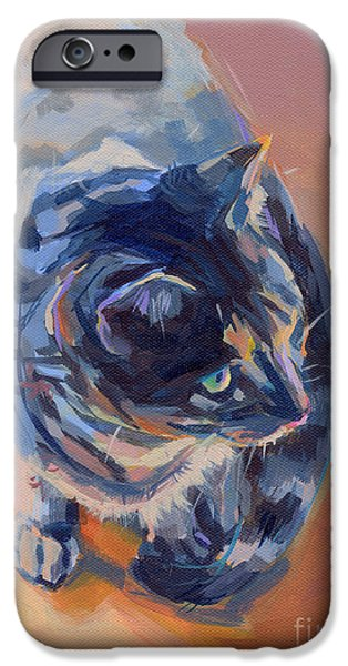 Orange Tabby iPhone Cases - Mona Lisa iPhone Case by Kimberly Santini