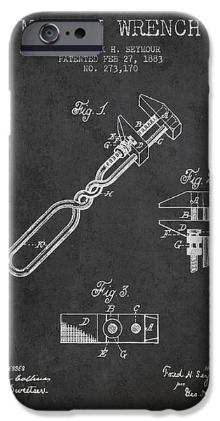 Monkey iPhone Cases - Monkey Wrench patent Drawing from 1883 iPhone Case by Aged Pixel