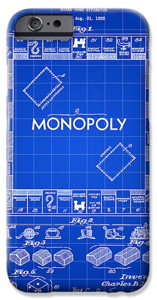 Blueprint iPhone Cases - Monopoly Patent 1935 - Blue iPhone Case by Stephen Younts