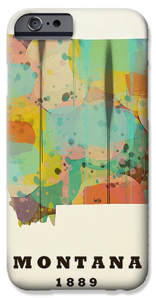 Montana State Map iPhone Cases - Montana State Map Modern iPhone Case by Bri Buckley