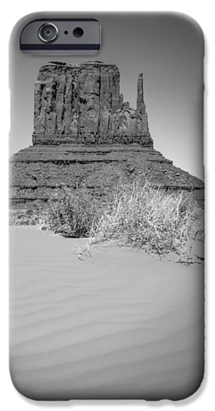 Desert Scape iPhone Cases - Monument Valley - West Mitten Butte bw iPhone Case by Melanie Viola