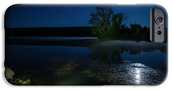 Alga iPhone Cases - Moon over lake iPhone Case by Alexey Stiop