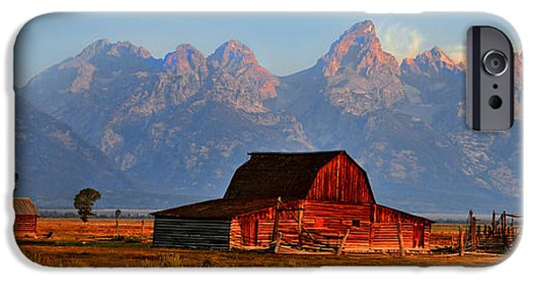 Old Barn iPhone Cases - Mormon Row and the Grand Tetons  iPhone Case by Ken Smith