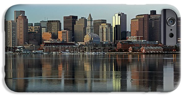 City. Boston iPhone Cases - Morning Reflection iPhone Case by Juergen Roth