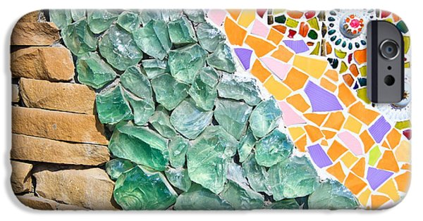 Wallpaper Glass iPhone Cases - Mosaic Texture  iPhone Case by Niphon Chanthana