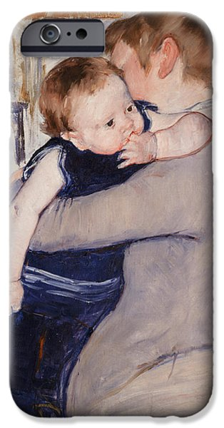Caring Mother iPhone Cases - Mother and Child iPhone Case by Mary Stevenson Cassatt