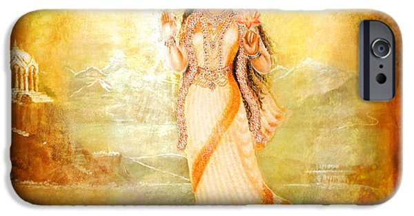 Hindu Goddess Mixed Media iPhone Cases - Mother Goddess with Angels iPhone Case by Ananda Vdovic