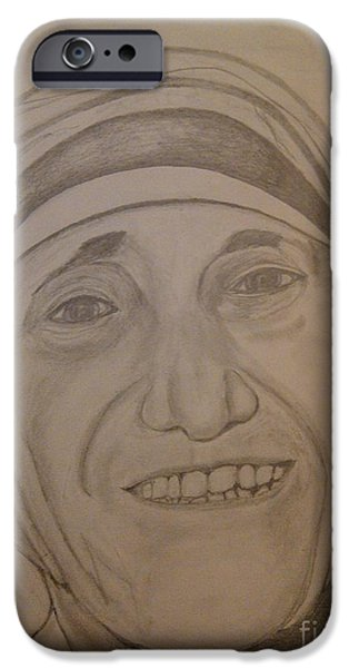 Religious Drawings iPhone Cases - Mother Teresa iPhone Case by Irving Starr