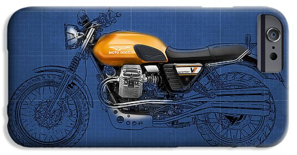 Transportation Pastels iPhone Cases - Moto Guzzi V7 Scrambler 2012 Original style iPhone Case by Pablo Franchi