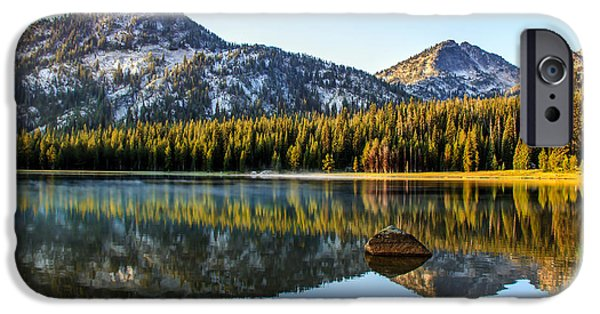 Haybale iPhone Cases - Mountain Reflections iPhone Case by Robert Bales